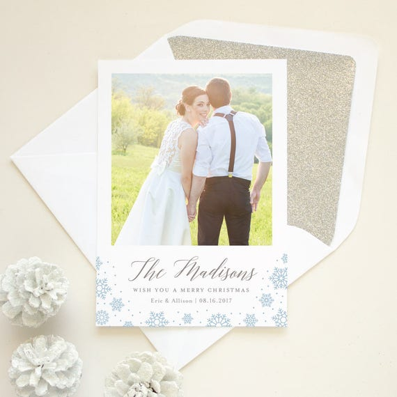 Newlyweds First Christmas Card with Wedding Photo, Just Married Photo Holiday Card, Wedding Announcement Holiday Card New Last Name - Wish