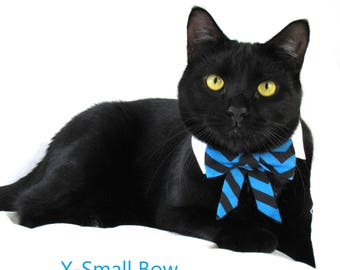 Blue and Black Chevron Bow Tie, Necktie, or Bow on a Shirt Style Collar for both Dogs & Cats