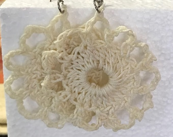 White floral crocheted earrings