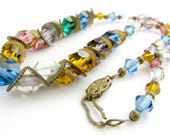 Art Deco Necklace, Czech Glass, Faceted Beads, Colored Crystals, Gilt Brass Gear Spacers, Chain Strung, Vintage Jewelry
