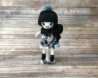 """Doll 15 """", black and gray, gift for girl"""