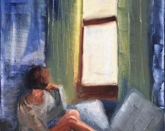 By the window, woman portrait original oil painting 16x20