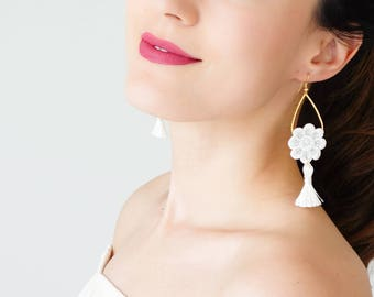 Summer Outdoors Tassel Earrings Summer Trends White Earrings Tassel Jewelry Statement Earrings Statement Jewelry Dangle Earrings / GALINA
