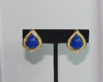 Christian Dior Clip On Earrings - Gold Tone, Blue Stones and Crystals - S2425