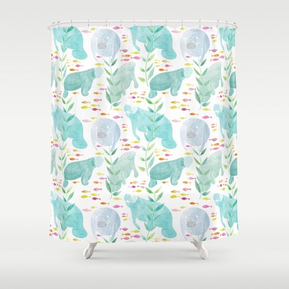 Manatee Shower Curtain watercolor manatees and fish shower