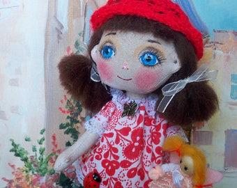 "Art doll "" Kate"" gift idea Handmade doll fabric doll, rag doll, textile doll, interior doll, cloth doll, vintage doll, doll"