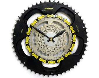 Limited Edition tour de france gear clock, Yellow Jersey Clock - Bike Clock, Yellow Clock - Steampunk Clock - Bike Clock - Bike Gear Clock