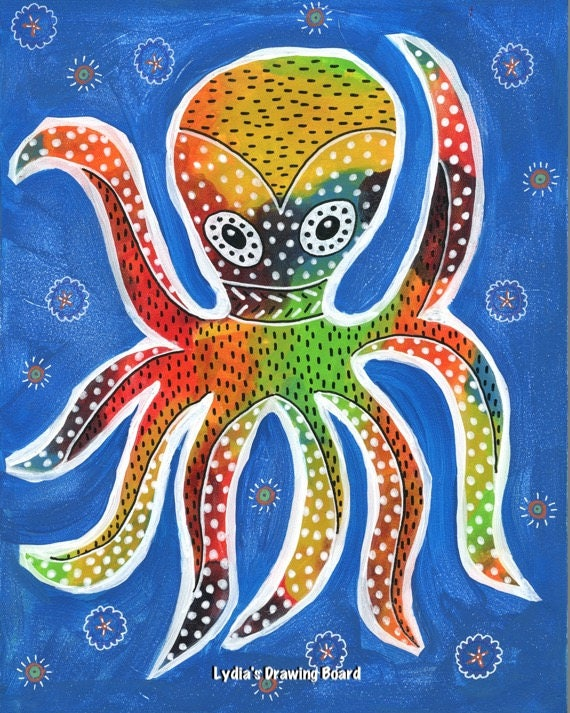 Octopus, Octopus Art, Octopus Print, Octopus Artwork, Octopus Art Print, Mexican Art, Mexican Folk Art, Animal Art, Animal Artwork, Pulpo