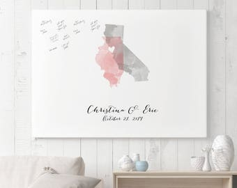 Watercolor Wedding Map Guest Book with Two States - Unique Wedding Guestbook Sign in Board - The StateLove
