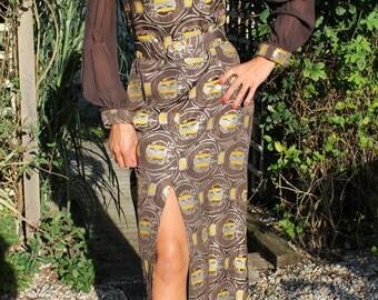 """1970s Long Brown & Gold """" Shubette"""" Design Dress"""