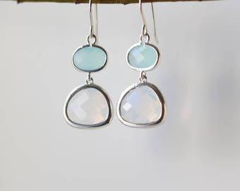 Mint Chalcedony Moonstone Earrings Silver Dangle Earrings - Quartz Earrings - Drop Earrings - Birthstone Earrings Blue Jewellery -