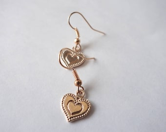 Small Heart Charm Earrings, Light Rose Gold Plated