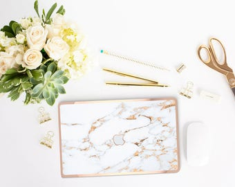 Marble Macbook Case and Rose Gold Edge Detailing Hard Case for Apple Macbook Air /  Macbook Pro 2016  - Platinum Edition - Bianco Sivec Gold