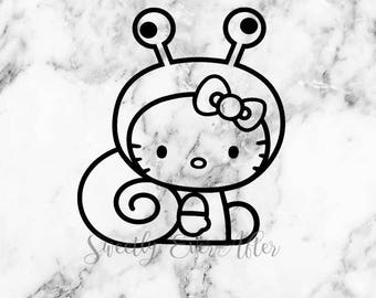 Hello Kitty Snail Decal Sticker - Hello Kitty - Laptop Sticker - Car Truck Vinyl Decal - Planner Sticker - Birthday Gift