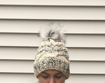 Slouchy faux fur pom pom hat, cable knit beanie, braided cable knit hat, pom pom hat, cable braid hat || JASPER CABLE HAT