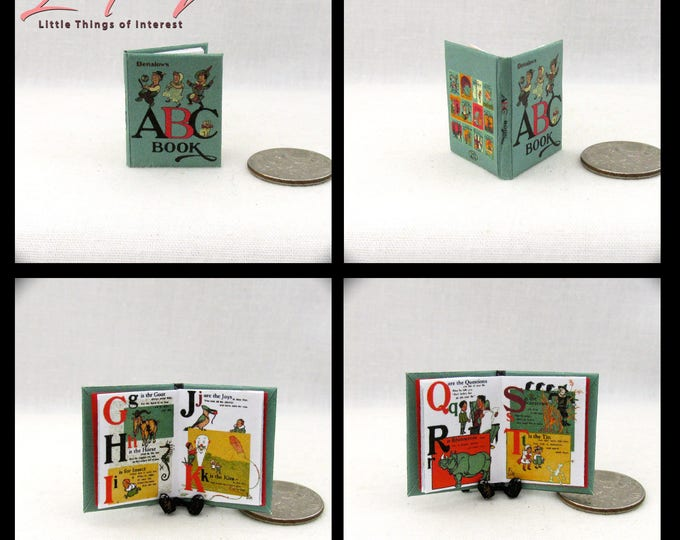 THE ABC's 1:12 Scale Book Colorful Illustrated Book  Denslow Book Apples Bear Cat Dog