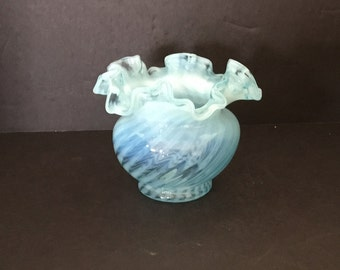 FentonBlue Opalescent Stripe Vase Ruffle Top