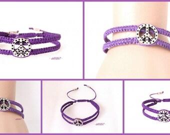 Bracelet Homme - marcramé violet - peace - Réf. Br 018