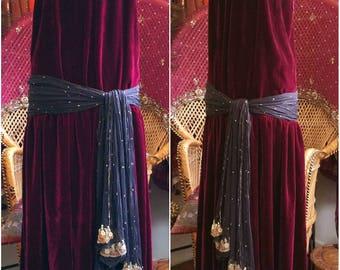 Gothic Noir 1920s Egyptian silk velvet gown dress! Beautiful handmade original boho bohemian gypsy 20s formal
