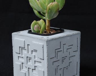 Cement Planter, Textile Block, Shadow Illusion