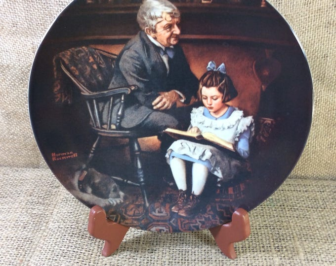 Mint condition Norman Rockwell The Young Scholar plate, certified as a true Rockwell classic, 1991 Norman Rockwell plate, plate collectors
