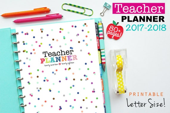 2017-2018 Teacher Planner PDF Printable Pages Inserts