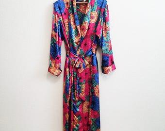 Lux Floral Satin Robe Medium Large