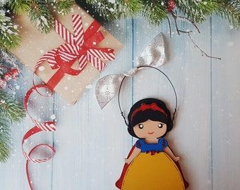 Snow White Christmas Ornament, Disney Princess, Elsa, Anna, Cinderella, Rapunzel, Jasmine, Belle, Aurora, Moana, Tiana, Ariel, Merida, Mulan