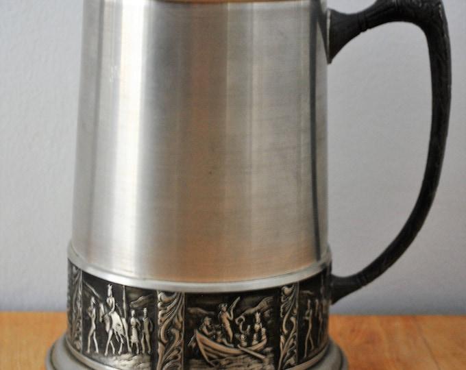 Norwegian Pewter Wedding Mug Vintage Telemark Rosemaling Folk Art