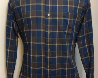 Vintage MENS 70s Carson Pirie Scott & Co. long sleeve blue, yellow and grey plaid shirt, size L