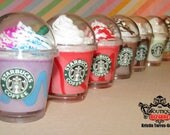 "NEW DESIGNS Starbucks KEYCHAIN Miniature Drink charm keychain keyring, miniature fake food drink, kawaii, coffee, frappucino 2"" tall cup"