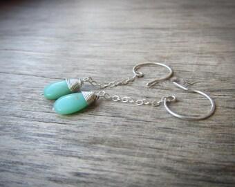 Long chain earrings Silver chain Chrysoprase earrings Gemstone drop earrings Minimalist earrings Mint green earrings Sterling silver jewelry