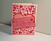 "Valentine's Day Greeting Card, Handmade Card "" Love is in the Air "",  Pink and Red"