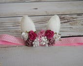 Handcrafted Pink and White Bunny Ears Headband - Baby Girl Springtime Headband - Toddler Rabbit Flower Crown - Dusty Rose Easter Headband