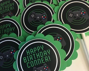 Video Game Cupcake Toppers - Boys Video Game Party - Gamer - Boy