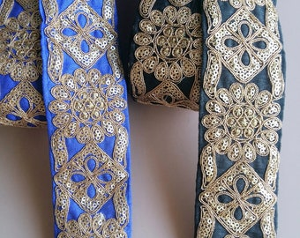 Black / Blue Fabric Trim With Gold Embroidery, Approx. 52mm  - 200317L231/32