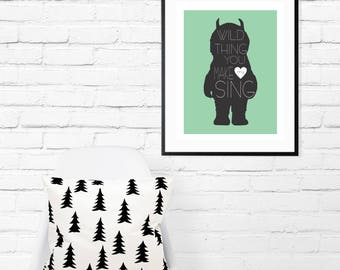Baby Nursery Wall Decor-Where the Wild Things Are-Mint,Black Nursery Decor-Inspirational Nursery Quote-Kids Inspirational-Typography-Monster