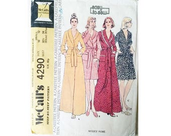 """Vintage McCall's 4290 """"Easy To Sew"""" Wrap Shawl Collar Dressing Gown Bath Robe Sewing Pattern Size Small"""