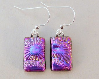 Purple and Pink Dichroic Fused Glass Dangle Earrings, Fused Glass, Fused Glass Earrings, Dichroic Earrings,  Dichroic, Purple, Pink