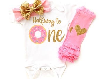 Donut Birthday Outfit, Donut Birthday Party, Six Month Birthday, One, Half Birthday,Baby Girl First Birthday, Baby Girl half birthday outfit