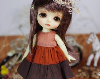 "Lati Yellow/ Puki Fee - ""Dreamy Blossom"" Patchwork Dress - GradientBrown"