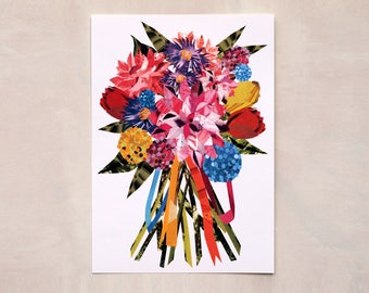 Summer Ribbon PomPom Posy Print- Hand collaged, digitally printed, vibrant, bright pink, yellow, floral.