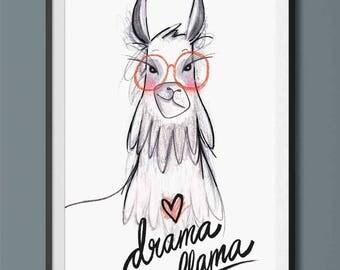 Drama llama Art print - funny llama