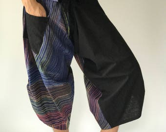SR0071 Samurai pants with Unique Hilltribe fabric Wrap Around