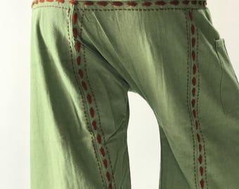 FW0081   Hand Stitch Inseam design for Thai Fisherman Pants Wide Leg pants, Wrap pants, Unisex pants