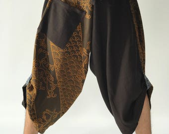 SR0134 Samurai Pants Harem pants have fisherman pants style wrap around waist
