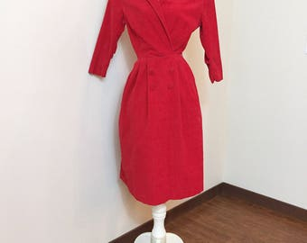 Vintage 1940s Dress / Red Dress / Red Corduroy / Fitted Dress