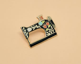 Sewing Machine (Black) Pin // Hard Enamel - Enamel Pin - Pin - Lapel Pin - Flair - Brooch - Collar Pin - By Justine Gilbuena
