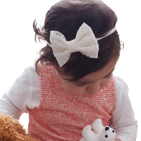 Lace Headband, Bow Headband, Beige Baby Headband, Lace Headband, Beige Lace Headband, Newborn Headband, Baby Girl Gifts, Newborn Gift
