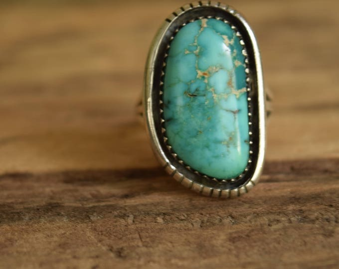 Featured listing image: Navajo Turquoise Ring - Navajo Jewelry - Vintage Native American Ring - Sterling Silver turquoise - Size 6.75 ring, Native jewelry, bohemian